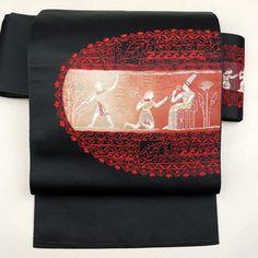 Black, nagoya obi / 楕円取りの古代柄をあしらった八寸名古屋帯 http://www.rakuten.co.jp/aiyama #Kimono #Japan #aiyamamotoya
