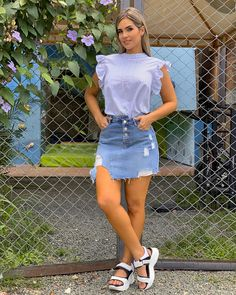 Denim Skirt Outfits, Casual Outfits, Cute Outfits, Fashion Outfits, Womens Fashion, Vogue Fashion, Fashion Beauty, Church Outfits, Casual Chic