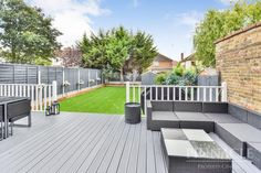 Check out this property for sale on Rightmove! Decking Colours Ideas, Back Gardens, Outdoor Gardens, Garden Fence Paint, Garden Landscaping, Fence Paint Colours, Back Garden Design, Decking Area, House Deck