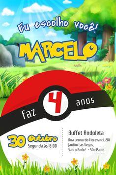 Festa Pokemon Go, Pokemon Party, Pikachu, Invitations, Digital, Bernardo, Tutu, Party Ideas, Online Invitations
