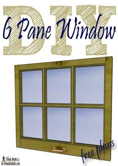 Free plans and tutorial to build a DIY 6 pane window frame like those old vintage windows.  #Remodelaholic #window #DIY