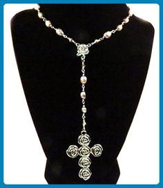 Rosary Necklace Sterling Silver Wire Freshwater Pearls Pink Mauve Handmade Unbreakable Religious Jewelry Christian Gift Ornate Cross Gift for Her - Wedding nacklaces (*Amazon Partner-Link)