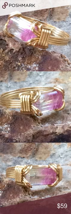 Genuine Pink White Tourmaline Wire Wrapped Custom Custom gold filled wire wrapped pink and white biclolor tourmaline set in an east west design in a size 6. Jewelry Rings