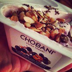 Snack time! Chia, seeds, and @chobani