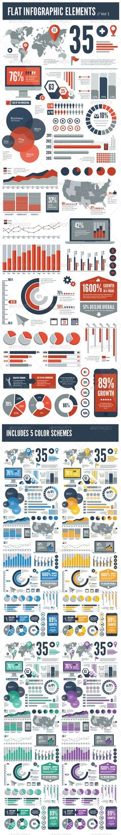 Flat Vector Infographic Elements - Infographics More: Information Design, Information Graphics, Web Design, Layout Design, Design Trends, Cv Website, Magazin Design, Plakat Design, Charts And Graphs