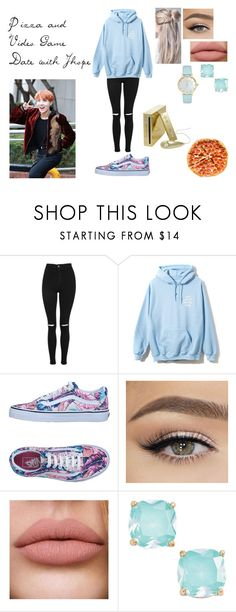 """Pizza and Video Game Date with J-hope"" by spicy-noodle ❤ liked on Polyvore featuring Topshop, Vans, Kate Spade, kpop, bts, Jhope and JungHoseok"