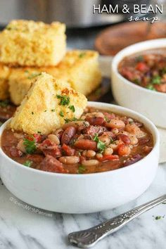 """Slow Cooker Ham and Bean Soup is the perfect hearty meal to come home to on a chilly day. This """"no-soaking required"""" and just minutes to prepare, this recipe cooks effortlessly in your Crock Pot all day long! Dinner is ready when you are! Slow Cooker Turkey Soup, Slow Cooker Chili, Slow Cooker Recipes, Crockpot Recipes, 15 Bean Soup, Ham And Bean Soup, Ham Recipes, Soup Recipes, Cooking Recipes"""