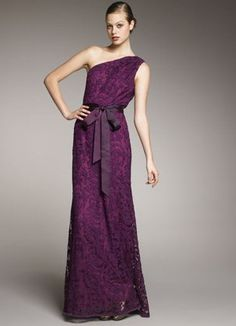purple One-Shoulder Lace formalGown. LOVE this!! Possible bridesmaid dress
