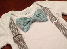 Bowtie and Suspenders Onesie in Aqua Plaid & by FourLittlePearls, $19.00