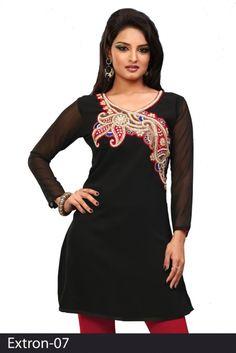 Black 60 grams Chiffon Georgette Embroidered Kurti - Chiffon Kurtis / Tunics Manufacturer & Exporter | Kurtisindia