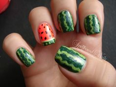 nails nailart nail art Spellbound mani manicure watermelon fruit green China Glaze Holly-Day Sally Hansen Green with Envy Funky Fingers King. Ongles Baby Blue, Baby Blue Nails, Watermelon Nail Art, Fruit Nail Art, Watermelon Fruit, Watermelon Nail Designs, Food Nail Art, Cute Nail Art, Cute Nails