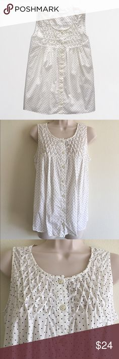 NWOT J. Crew Printed Gathered Top, Polka Dot New without tags. 100% cotton. White with navy polka dots. 23 inches long. Sorry, no trades. J. Crew Tops Tees - Short Sleeve