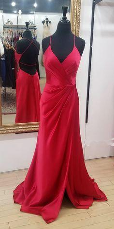 Gorgeous Red Long Prom Dresses, 2018 Prom Dresses, Straps Red Prom Dresses, Elegant Long Prom Dresses, Evening Dresses