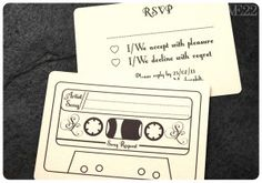 Fun RSVP cards! Guest can request a song to be played at the reception! (There will be no Nsync songs at this wedding! Sorry my NStink friends!!) @Ellen Marie @Laura Blanton @Shannon Dobbs