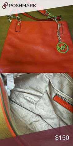 Michael Kors burnt orange leather crossbody  wrist Burnt orangish michael kors leather purse. An be worn as crossbody or on wrist, never used  spotless, purchased 2 years ago on a addiction, , smoke free home, flawless, no markings, definitely no scratches  retail $230 , priced to move Michael Kors Bags Crossbody Bags