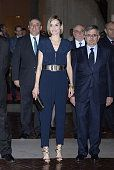 Queen Letizia of Spain attends the 'Barco de Vapor' and 'Gran Angular' children and youth literary awards at The Real Casa de Correos on April 21...
