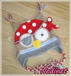 Pirate owl crochet hat, crochet baby hat, animal hat, crochet boy hat by NedinetCreations