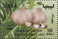 Stamp: Garlic (Libya) (Vegetables from Libya) Mi:LY 3063,WAD:LY007.14