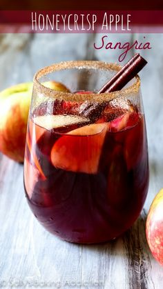 This honeycrisp apple sangria combines all of your favorite fall flavors into one delicious cocktail. This stuff disappears! This honeycrisp apple sangria combines all of your favorite fall flavors into one delicious cocktail. This stuff disappears! Holiday Drinks, Party Drinks, Cocktail Drinks, Fun Drinks, Yummy Drinks, Cocktail Recipes, Beverages, Fall Cocktails, Cocktail Ideas
