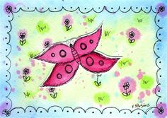 """Butterfly in the Meadow"" - Original Fine Art for Sale - Watercolor and Ink - © Kali Parsons - http://kaliparsons.blogspot.com"