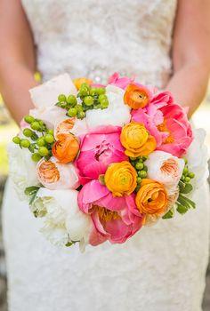 Bright Coral Peonies and Orange Ranunculus Bouquet