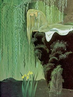 """The Frog Prince"""" Illustration by Janet & Anne Grahame Johnstone. This artwork is from Dean's: A Book of Fairy Tales, 1977 edition. I dreamt, not of a frog prince, but that I was floating on a blanket. Art And Illustration, Fairytale Art, Alphonse Mucha, Faeries, Oeuvre D'art, Art Inspo, Fantasy Art, Cool Art, Fairy Tales"""