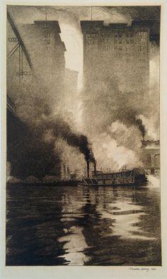 "Thornton Oakley, ""Beneath the 6th Street Bridge / Fulton and Bessemer Buildings"", 1913"