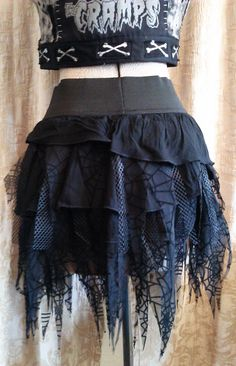 Upcycled Black Tattered Spider Web and Fishnet skirt by CoffinKitsch