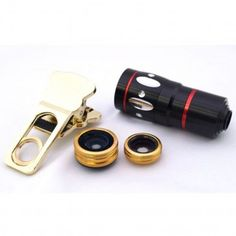 4 In 1 Universal Clamp Clip Camera Lens Kit Set Telephoto lens: Magnification: Up to 10x zoom Manual focus is easy *Fish Eye Lens: Magnification: Up to 180 degrees Includes flat adhesive metal ring that is fixed around the original lens *Wide Angle Lens: Magnification: Wide Lens super wide-angle lens can caputure the scenery sight *Marco Lens: Magnification: Macro Lens The shutting distance is between 10~23mm