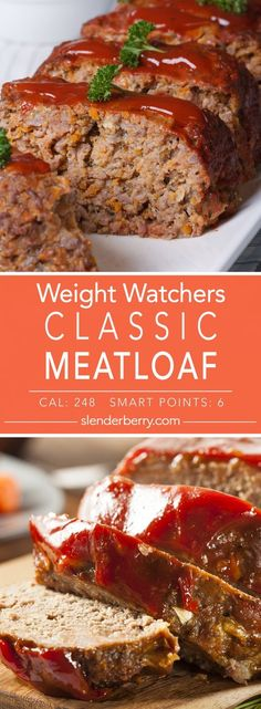 Classic Skinny Meatloaf - Slenderberry - Weight Watchers Classic Skinny Meatloaf Recipe – 6 Smart Points 248 Calories Informations About Cl - Skinny Recipes, Ww Recipes, Easy Dinner Recipes, Cooking Recipes, Healthy Recipes, Healthy Meatloaf Recipes, Hamburger Recipes, Juice Recipes, Weight Loss Meals