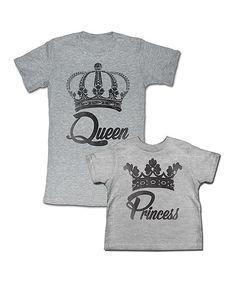 Gray 'Queen' Tee & 'Princess' Tee - Toddler, Girls & Women