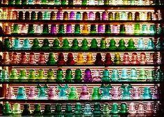 rainbow of glass insulators