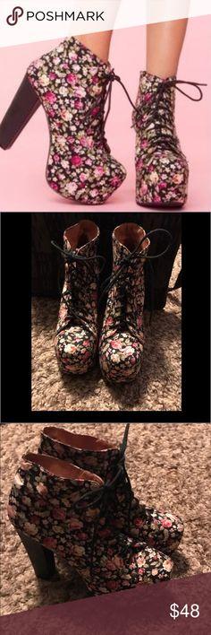 "Jeffery Campbell Lita Platform Floral boot Jeffery Campbell Lita floral platform boot in very good condition very light wear on sole Heel height measures approx. 4.95"" with 2""  platform. Jeffery Campbell Shoes Platforms"