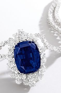 #Capri #Jewelers #Arizona ~ www.caprijewelersaz.com  ♥ IMPRESSIVE AND RARE SAPPHIRE AND DIAMOND NECKLACE ...