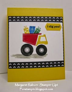 Fun Stampin' with Margaret! I Dig You set, Stacked with Love DSP. Stamps inked with SU Markers. Fun little boy's birthday card.