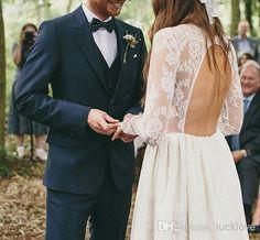 Elegance Romantic Lace Wedding Dresses Jewel Sheer Long Sleeves Key Hole Open Back Julia Bridal Gown/ Bohemian Wedding Dress, $131.94 | DHgate.com