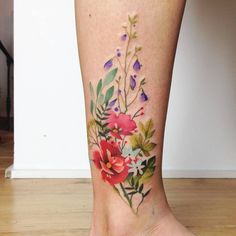 Watercolor florals by Aga Yadou girl tattoo 65 Adorable Wrist Tattoos All Women Should Consider Tattoos Bein, Leg Tattoos, Body Art Tattoos, Small Tattoos, Girl Tattoos, Tattoos For Women, Tattos, Water Color Tattoos, Water Tattoos
