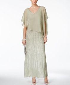 J Kara Beaded V-Back Capelet Gown   macys.com