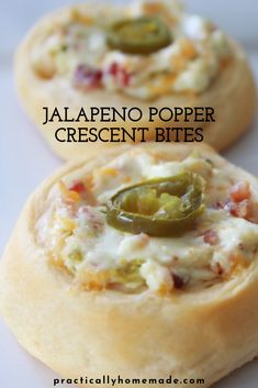 Jalapeno Popper Crescent Bites Refrigerated crescent roll dough is used as a cup to bake a decadent and delicious jalapeno popper dip. Simple to make these appetizers are a family favorite. Crescent Roll Appetizers, Crescent Roll Recipes, Stuffed Crescent Rolls, Jalapeno Popper Dip, Finger Food Appetizers, Finger Foods, Simple Appetizers, Party Appetizer Recipes, Dinner Recipes