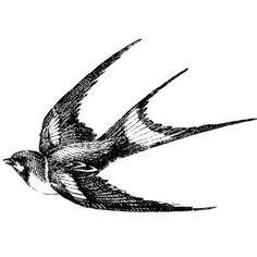 Swallow bird  Miniature rubber stamp