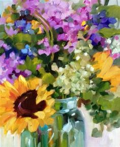 "Daily Paintworks - ""EXPRESS FLORAL"" - Original Fine Art for Sale - © Libby Anderson"