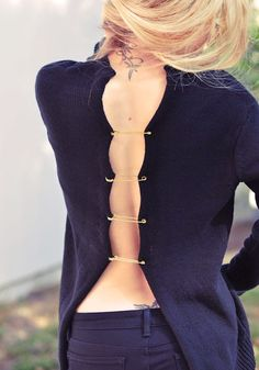 DIY Versace safety pin sweater tutorial by Love Maegan.