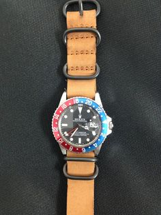 Rolex GMT with Leather Zulu NATO Strap