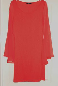Coral-orange 60s mod style mini dolly dress sheer floaty bell sleeves Size 10 | eBay