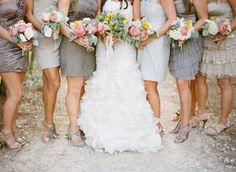 Cant get enough of this bridesmaid look in glam grey with metallics & sparkles!