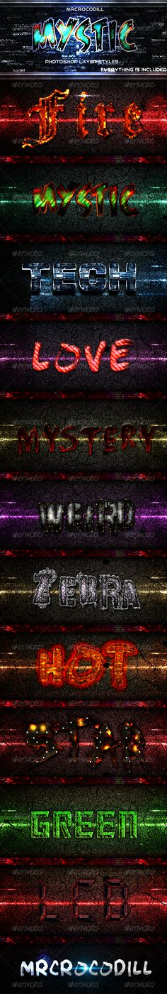Mystic Photoshop Layer Styles - Text Effects Styles