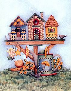 debbie mumm - bird houses and watering can