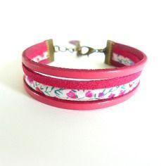 Bracelet manchette cuir framboise & cordon liberty of london phoebe rose - suédine aspect daim - support métal bronze