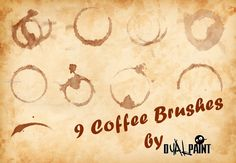 Coffee Stains - Download  Photoshop brush http://www.123freebrushes.com/coffee-stains-10/ , Published in #GrungeSplatter. More Free Grunge & Splatter Brushes, http://www.123freebrushes.com/free-brushes/grunge-splatter/ | #123freebrushes