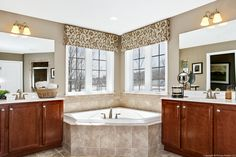 Classy Jack and Jill couples style bathroom at the Biltmore II at Parkside by DRB. Home Style Ideas